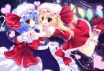 Konachan.com - 88080 blonde_hair blue_hair dress flandre_scarlet hat konitan remilia_scarlet touhou wings