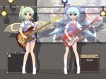 Konachan.com - 88166 2girls bow cirno daiyousei dress guitar instrument kinakomoti touhou wings
