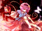 Konachan.com - 89798 awa_toka bloomers butterfly heart komeiji_satori pink_hair red_eyes short_hair touhou