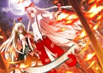 Konachan.com - 90082 boots dress ex_keine fire fujiwara_no_mokou green_hair horns kamishirasawa_keine koto long_hair moon night red_eyes ribbons sky touhou white_hair