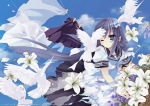 Konachan.com - 80044 bird blue_eyes blue_hair flowers ribbons seifuku