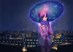 Konachan.com - 80191 blue_eyes night original pantyhose purple_hair rain skirt