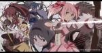Konachan.com - 101027 akemi_homura bow gun hajime kaname_madoka mahou_shoujo_madoka_magica miki_sayaka sakura_kyouko tomoe_mami weapon