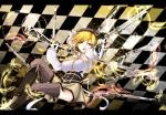 Konachan.com - 101136 amgetd blonde_hair feathers gun mahou_shoujo_madoka_magica thighhighs tomoe_mami weapon yellow_eyes