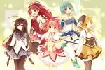 Konachan.com - 101202 akemi_homura amane_kurumi blonde_hair kaname_madoka miki_sayaka pink_hair red_hair sakura_kyouko sword thighhighs tomoe_mami weapon