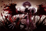 Konachan.com - 101883 blood feitie gloves izayoi_sakuya knife red_eyes remilia_scarlet sword tears touhou weapon wings