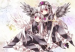 Konachan.com - 102895 2girls dress flowers moru red_eyes rose rozen_maiden suigintou sword weapon wings