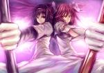 Konachan.com - 103320 2girls akemi_homura bow dress evan_yang kaname_madoka mahou_shoujo_madoka_magica pink_hair weapon