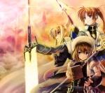 Konachan.com - 75840 book fate_testarossa mahou_shoujo_lyrical_nanoha mahou_shoujo_lyrical_nanoha_strikers spear sword takamachi_nanoha weapon yagami_hayate