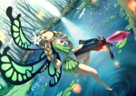 Konachan.com - 81526 barefoot blonde_hair braids flowers mercedes odin_sphere red_eyes water weapon wings yoshino_ryou