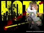 Konachan.com - 81919 blood highschool_of_the_dead miyamoto_rei red_eyes seifuku thighhighs weapon