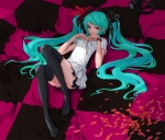 Konachan.com - 86783 aqua_eyes aqua_hair hatsune_miku headphones long_hair redjuice thighhighs twintails vocaloid