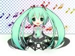 Konachan.com - 86822 aqua_eyes aqua_hair blush chibi hatsune_miku thighhighs tie twintails vocaloid