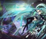 Konachan.com - 86986 aqua_eyes aqua_hair hatsune_miku headphones long_hair thighhighs twintails vocaloid zis