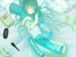 Konachan.com - 86996 aqua_hair hatsune_miku microphone psp shiro_shougun sleeping vocaloid
