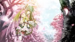 Konachan.com - 87003 cherry_blossoms green_eyes green_hair hatsune_miku headphones kouji petals spring thighhighs tree twintails vocaloid