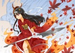 Konachan.com - 87161 animal autumn bird black_hair headband hinomoto_oniko horns japanese_clothes kimono leaves long_hair mask red_eyes weapon