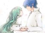 Konachan.com - 87304 aqua_hair blue_hair hatsune_miku kaito loli petals shinri_ibitsu thighhighs vocaloid white