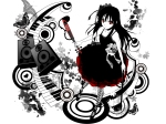 Konachan.com - 87715 butterfly dress mizki polychromatic red_eyes speakers stockings violin vocaloid white
