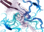 Konachan.com - 87817 animal aqua_hair blue_hair fish hatsune_miku kaito long_hair robinexile skirt thighhighs twintails vocaloid white