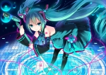 Konachan.com - 87887 aqua_eyes aqua_hair hatsune_miku koi long_hair microphone thighhighs twintails vocaloid