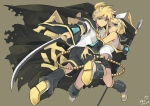 Konachan.com - 87986 blonde_hair blue_eyes headphones kagamine_len kagamine_rin katana seiju_natsumegu short_hair sword vocaloid weapon
