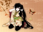 Konachan.com - 88085 black_hair butterfly flowers headphones japanese_clothes kimono long_hair mio_(yumehikou) nagone_mako red_eyes thighhighs utau vocaloid