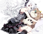 Konachan.com - 88173 bear eyepatch hatsune_miku headphones lolita_fashion long_hair pink_eyes vocaloid white white_hair