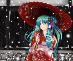 Konachan.com - 90742 aqua_hair blush fule japanese_clothes kimono kochiya_sanae long_hair snow touhou umbrella yellow_eyes