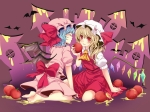 Konachan.com - 92630 2girls apple barefoot flandre_scarlet food fruit remilia_scarlet rimu_(rim573) touhou wings
