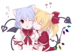 Konachan.com - 92815 animal_ears blonde_hair blue_hair flandre_scarlet gustav_(telomere_na) red_eyes remilia_scarlet tail touhou white wings wink