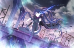 Konachan.com - 131053 bandage black_hair black_rock_shooter blue_eyes boots cape chain dragon kuroi_mato long_hair paparins sky thighhighs twintails