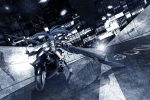 Konachan.com - 132333 black_rock_shooter building gun idsuru921 kuroi_mato monochrome motorcycle weapon
