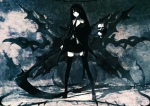 Konachan.com - 55873 black_hair black_rock_shooter death_scythe green_eyes huke long_hair monochrome original scythe skirt thighhighs weapon