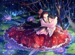 Konachan.com - 94446 black_hair flowers houraisan_kaguya kieta red_eyes skirt touhou water