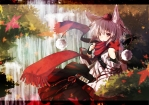 Konachan.com - 95066 animal_ears hat inubashiri_momiji miya_(tsumazukanai) red_eyes scarf touhou waterfall