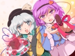 Konachan.com - 96793 cake dress flowers flx hat komeiji_koishi komeiji_satori purple_eyes purple_hair touhou valentine