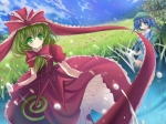 Konachan.com - 97161 bow dress flowers green_eyes green_hair kagiyama_hina kawashiro_nitori marionette_(excle) touhou
