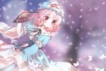 Konachan.com - 97184 butterfly cherry_blossoms fan hat japanese_clothes kuromame_(8gou) petals pink_hair red_eyes saigyouji_yuyuko touhou