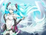 Konachan.com - 92604 aqua_eyes aqua_hair hatsune_miku headphones miku_append thighhighs toromera twintails vocaloid