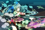 Konachan.com - 92811 84k aqua_eyes aqua_hair bunny fan flowers hatsune_miku twintails vocaloid