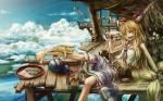 Konachan.com - 97656 animal barefoot cat clouds fang horns ibuki_suika long_hair modama touhou