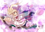 Konachan.com - 97750 blonde_hair blue_eyes lily_white long_hair petals sola7764 touhou tree wings