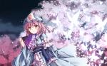 Konachan.com - 98117 butterfly dress fan petals saigyouji_yuyuko toshizaki_shouma touhou