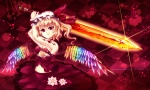 Konachan.com - 98508 blonde_hair dress flandre_scarlet flowers greave hat red_eyes short_hair sword tattoo touhou weapon wings