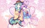 Konachan.com - 98536 green_hair hat hiiragi_ryou komeiji_koishi komeiji_satori purple_hair sayori short_hair touhou