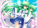 Konachan.com - 98728 cherry_blossoms green_hair kochiya_sanae petals shin_osada touhou