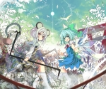 Konachan.com - 98770 animal animal_ears bird cirno dress nazrin shino_(eefy) tail touhou