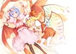 Konachan.com - 98950 blonde_hair blue_hair flandre_scarlet kunieda red_eyes remilia_scarlet short_hair touhou vampire wings