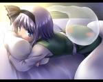 Konachan.com - 99244 blue_eyes blush gray_hair hitodama konpaku_youmu murasaki_kajima myon short_hair touhou